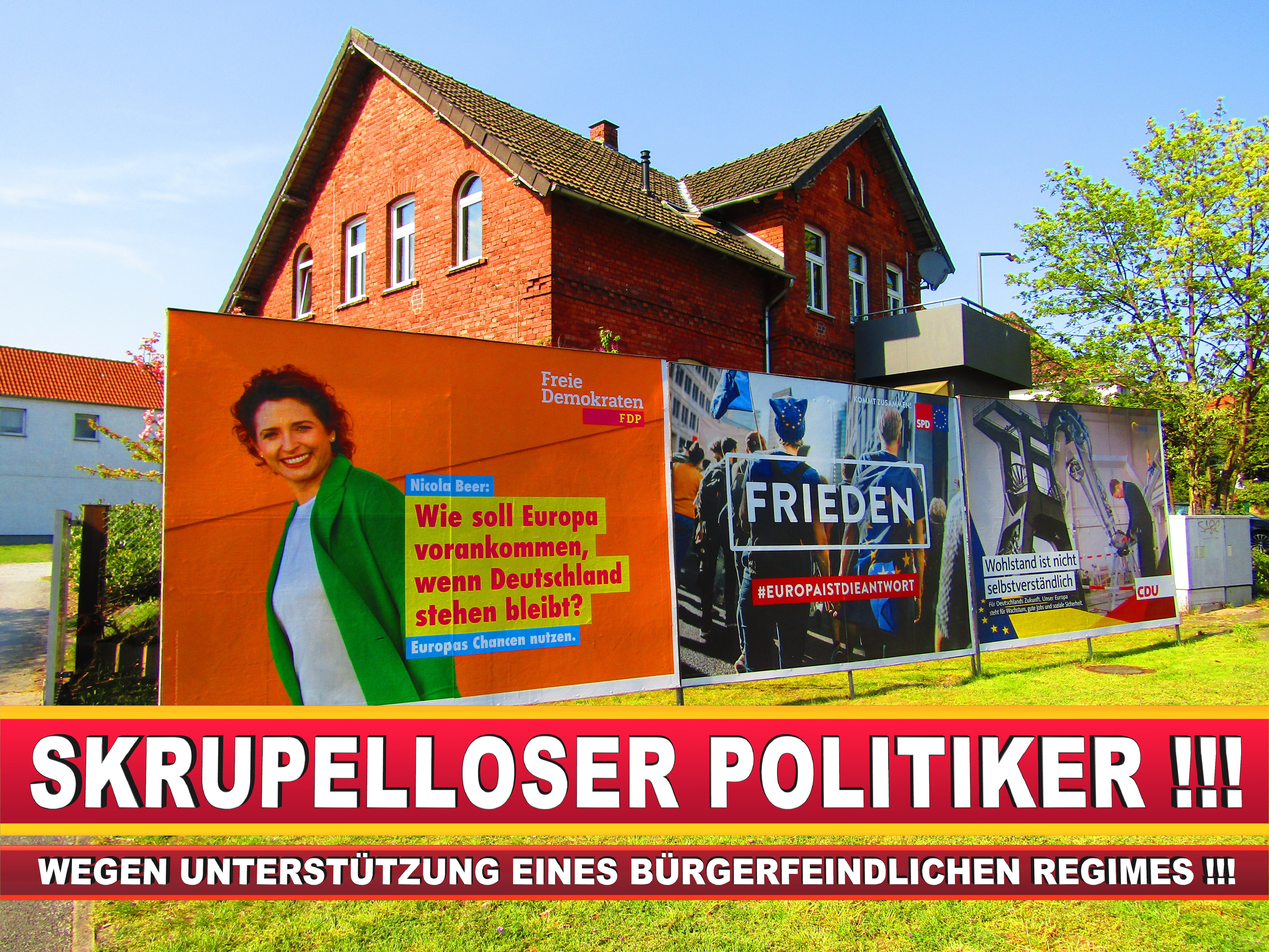 Europawahl Deutschland Wahlplakate CDU SPD FDP Grüne Linke AfD (91)